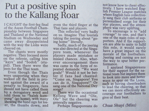 Put a postive spin to the Kallang Roar