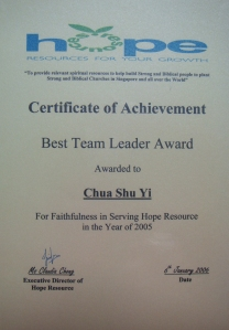 Best Team Leader Award 2005
