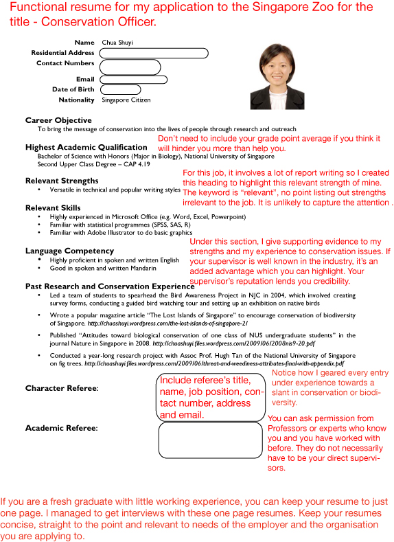 Conservation ...  Tips For Writing A Resume