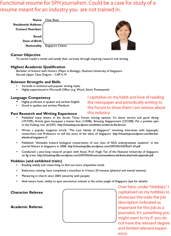 how to write a resume singapore - Singapore Resume Sample Download
